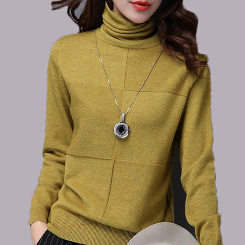 High collar sweater womens autumn winter Korean version loose knit shirt womens Pullover short winter pile neck bottoming shirt womens long sleeve