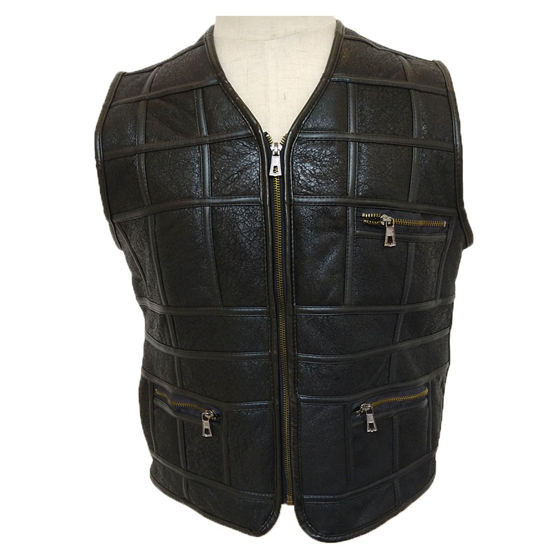 Fur integrated vest for mens middle aged and old peoples fur warm wool fur ridge shoulder large size fathers coat autumn and winter