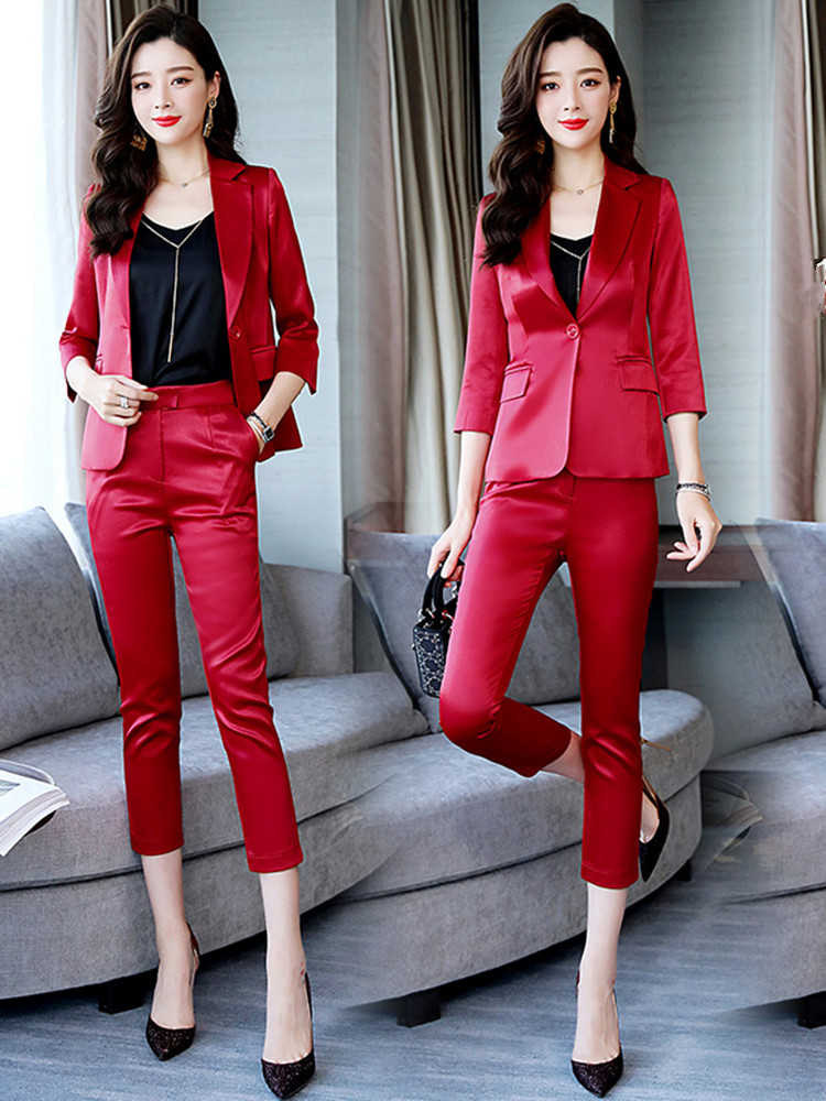 Acetate Blazer suit femininity fashion Satin solid color western style autumn small suit coat ol professional wear