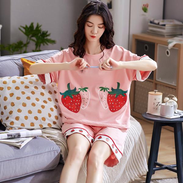 TS14695#睡衣夏纯棉韩版短袖韩版可外穿家居服套