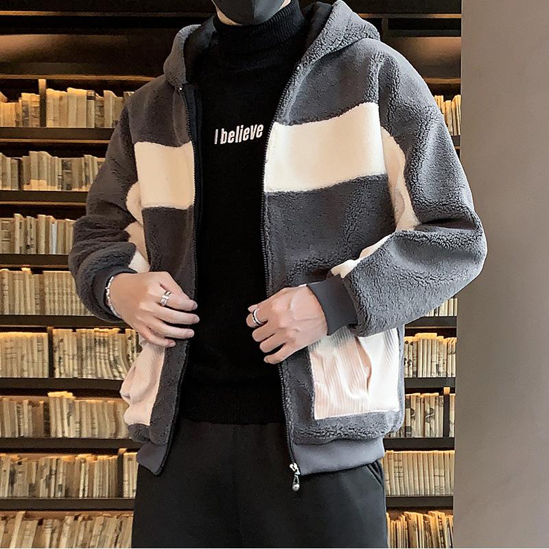 青少年2019新款韩版潮流冬装休闲棉袄羊羔绒拼接外套男M9001P78