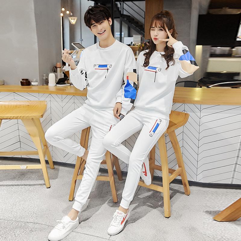 (控88)情侣运动套装男士2018秋季女两件套学生加绒卫衣潮TZ56P65