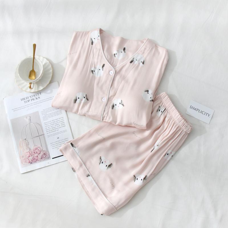 日系薄款棉绸夏短袖带胸垫自带睡衣限5000张券