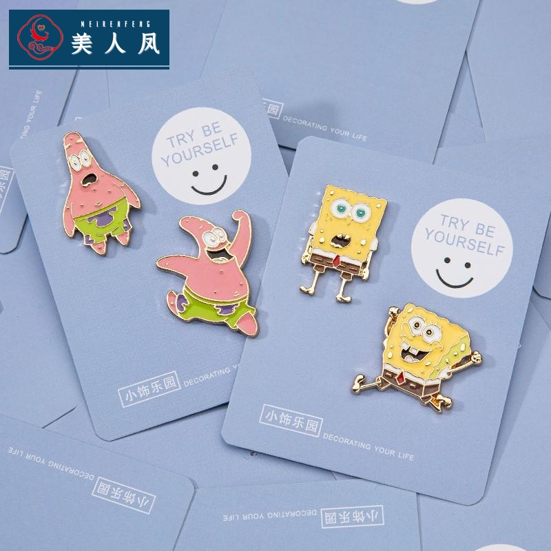 Sponge baby pie big star Cute Japanese cartoon pin male and female couple ins fashion personality Brooch alloy badge