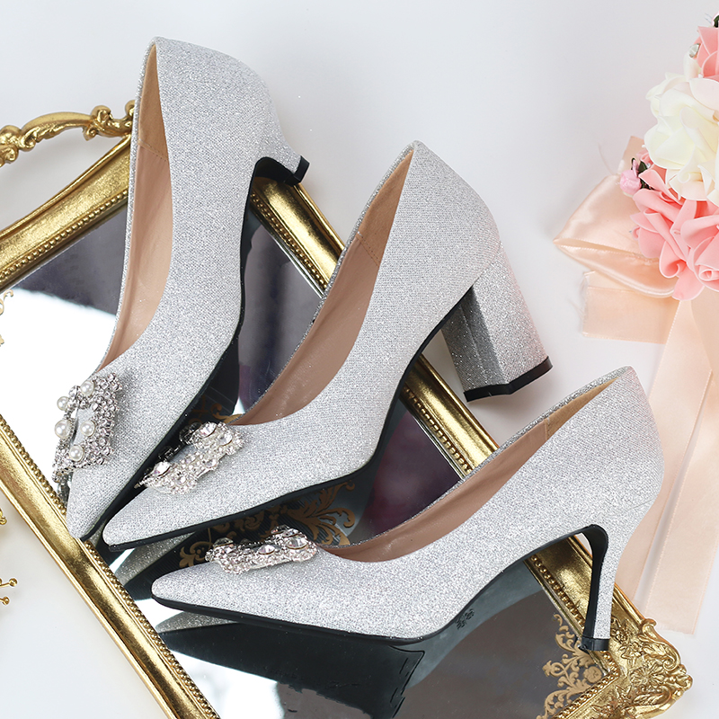 Wedding shoes female bridal shoes slim heels wedding shoes sequins thick heels high heels silver stiletto shoes crystal Bridesmaid shoes pointed