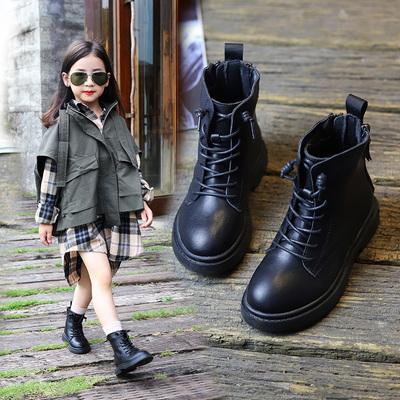 女童马丁靴真皮儿童短靴春秋单款2020年新款英伦风走秀黑色棉靴子