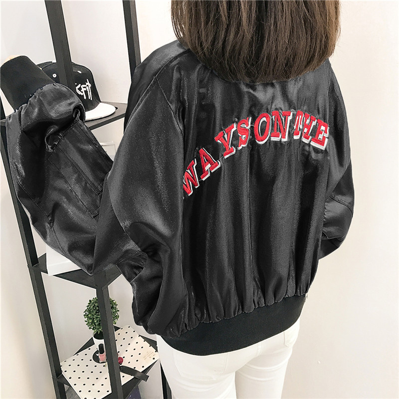 2017 autumn new Korean version of Harajuku college wind stand collar embroidery new fabric bat sleeve Baseball Jacket Womens fashion