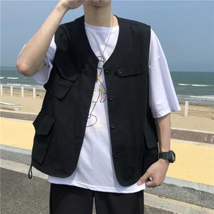 马甲外穿开衫 夏季 黑色工装 INS日系潮人同款 外套百搭背心男女同款