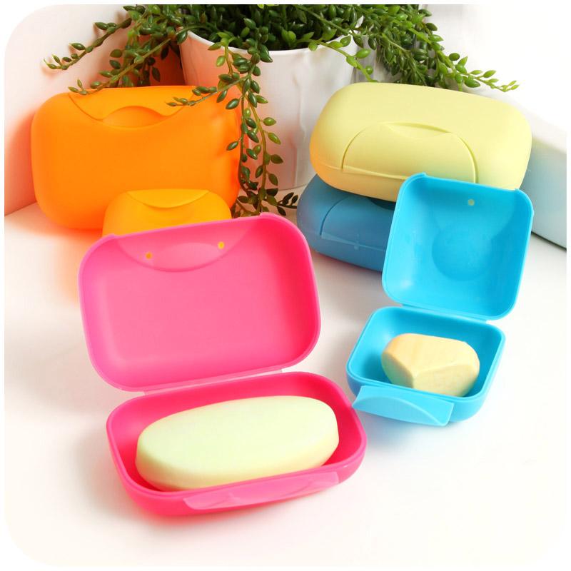Пластик блокировка пряжка путешествие мыло коробка мини портативный туалетное мыло коробка творческий крышка печать мыльница в коробку