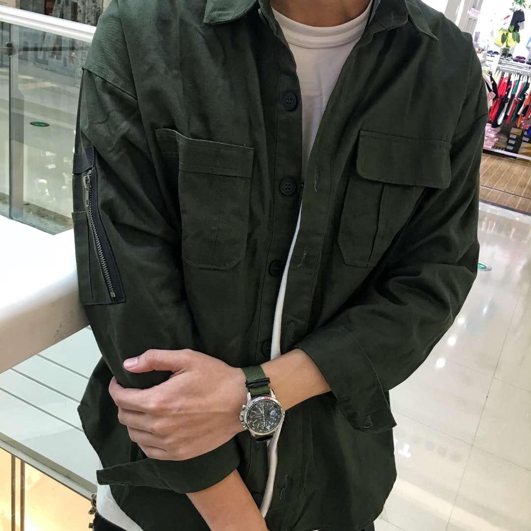 现货 AIRWAY 2018  SHIRT bif风秋冬薄款 同款 迷彩工装衬衫