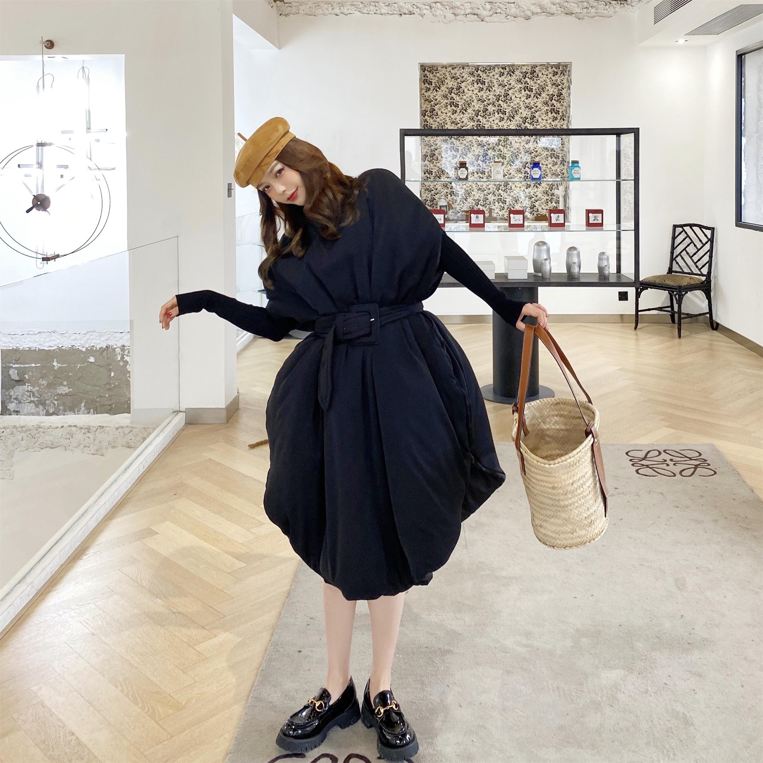 实拍新款黑色棉服裙?#29992;?#36830;衣裙冬季无袖棉袄女中长款大衣