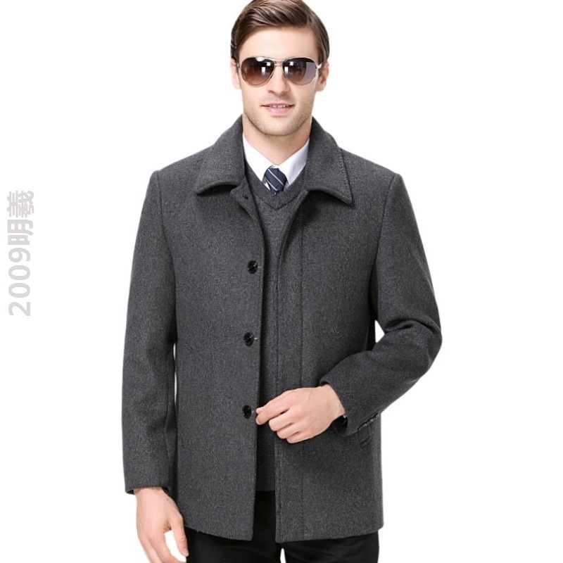 Working mens cashmere jacket spring and autumn wear Lapel dad jacket jacket middle aged mens jacket fashion simple and handsome