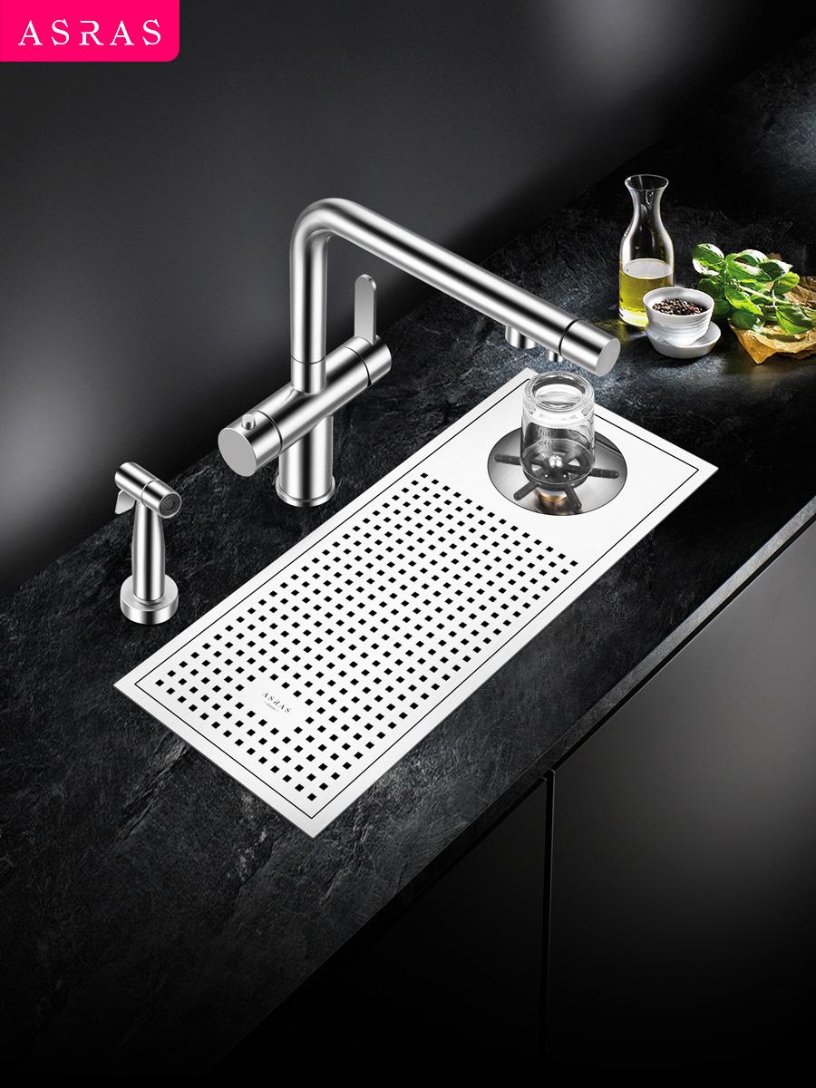 阿萨斯不锈钢洗杯器水槽奶茶咖啡厅酒水吧台自动高压商用家用