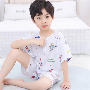 夏季儿童棉绸睡衣男童女童宝宝短袖短裤绵绸夏天小孩男孩薄款套装