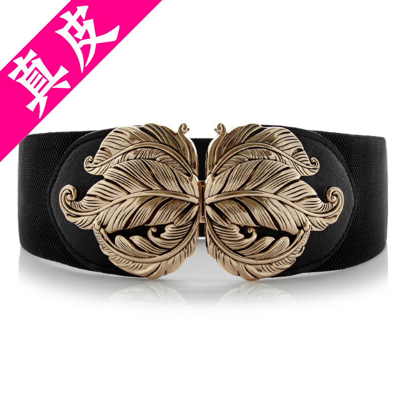 Leather womens belt, retro carved flowers, elastic waistband, cow leather super wide belt, womens decoration and fashionable skirt