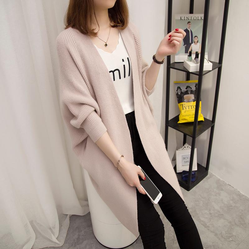 Весна новый беременная женщина свитер корейский свободные большой размеров длина вязание кардиган пальто осень зима куртка волна мама