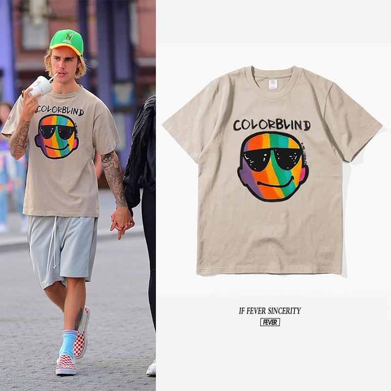 贾斯汀 比伯同款T恤夏季彩虹笑脸短袖Justin Bieber宽松欧美潮牌