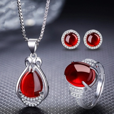 925 Sterling Silver retro Ruby Green Agate Necklace Pendant Earrings Ring women set Japanese and Korean fashion jewelry gift
