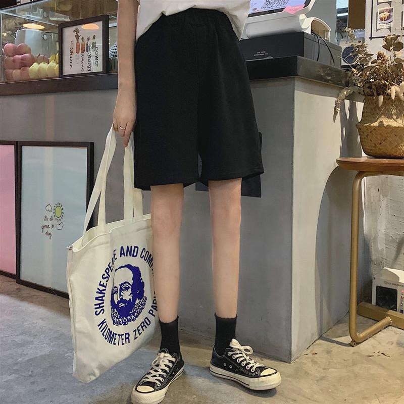 运动裤女夏季薄款五分宽松bf休闲直筒阔腿大裤衩外穿cec工装裤子10-28新券
