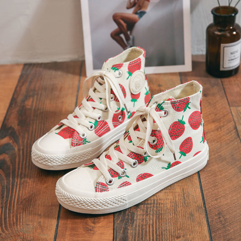 High top strawberry womens shoes 2020 new fashion canvas shoes female students Korean cloth shoes versatile board shoes ins small white shoes