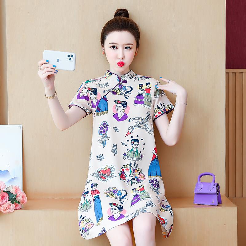 实拍改良版旗袍性感甜美中国风少女时尚大码连衣裙年轻款夏装