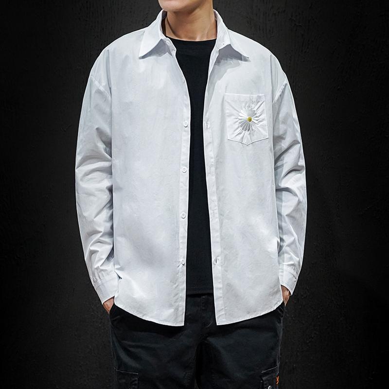 2020春季新款日系大码黑墙纯色菊花刺绣衬衫外套 A038-C14-P48