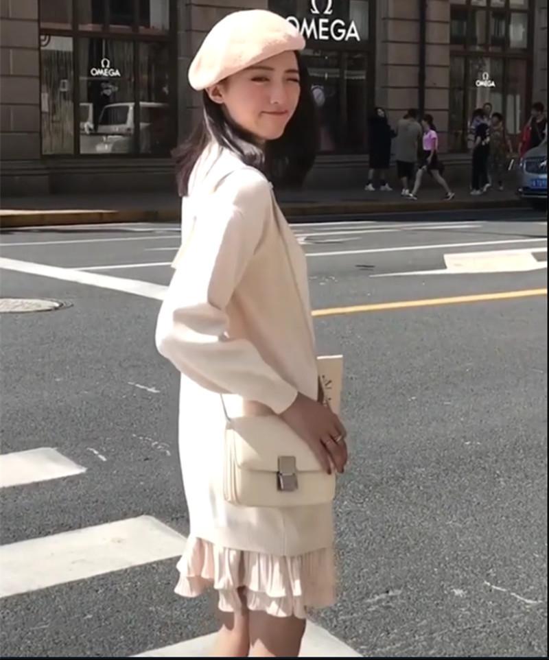 的尚针织连衣裙女秋冬宽松大码韩版中长款套头打底假两件毛衣裙潮