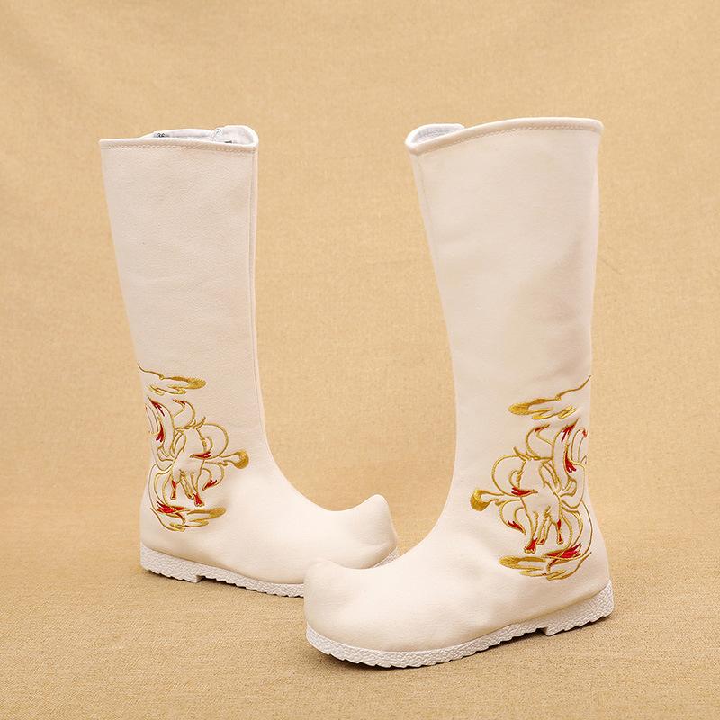 古装古风cos汉服戏曲内增高棉男女中式婚鞋古代道具拉链绣花靴子