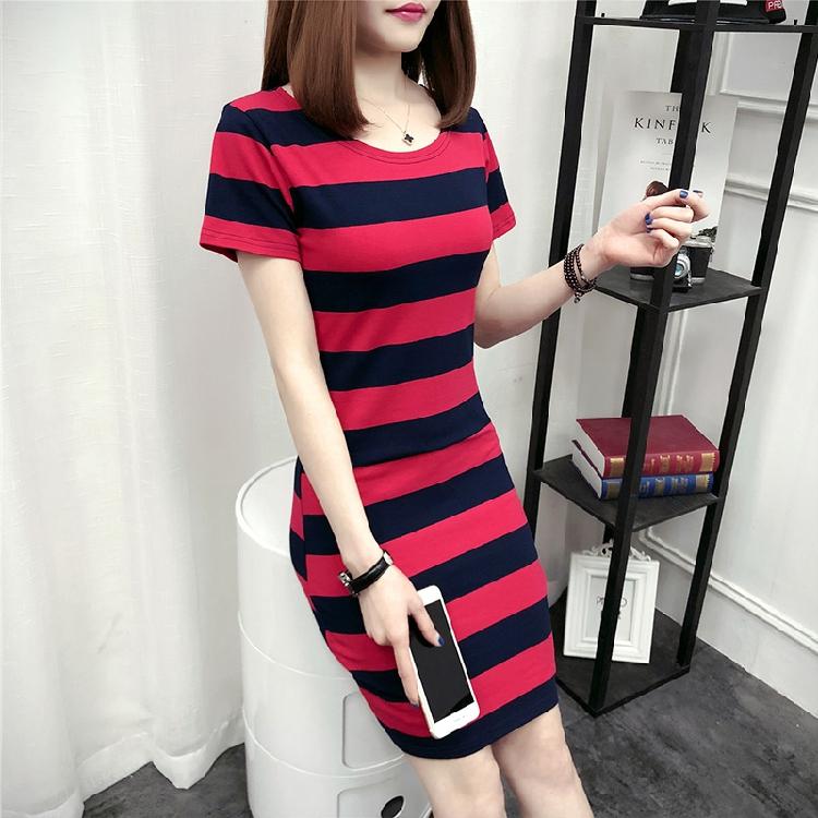 2018夏装新款圆领短袖条纹连衣裙女装修身包臀中长款韩版棉打底裙