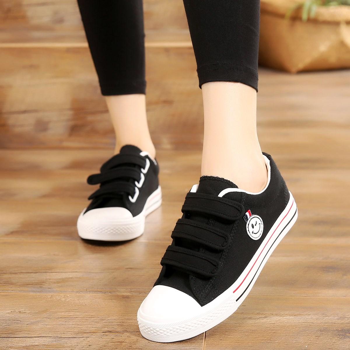 魔术贴帆布鞋春季新款百搭韩版休闲运动学生鞋平底板鞋大童女鞋
