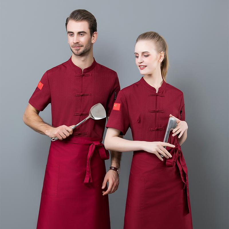 新款酒店厨师工作服夏天装短袖制服星级大饭店后厨工装营养师工衣
