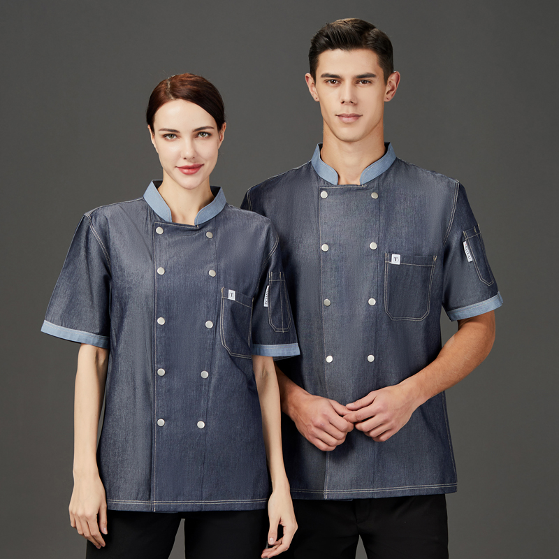 Chefs work clothes summer clothes mens and womens back kitchen clothes canteen kitchen kindergarten chef clothes short sleeve catering uniform