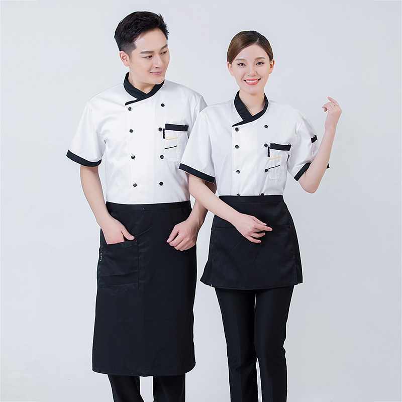 Beef barbecue uniform bread hamburger suit chef work suit summer short sleeve cooking cake maker flower mounting work clothes