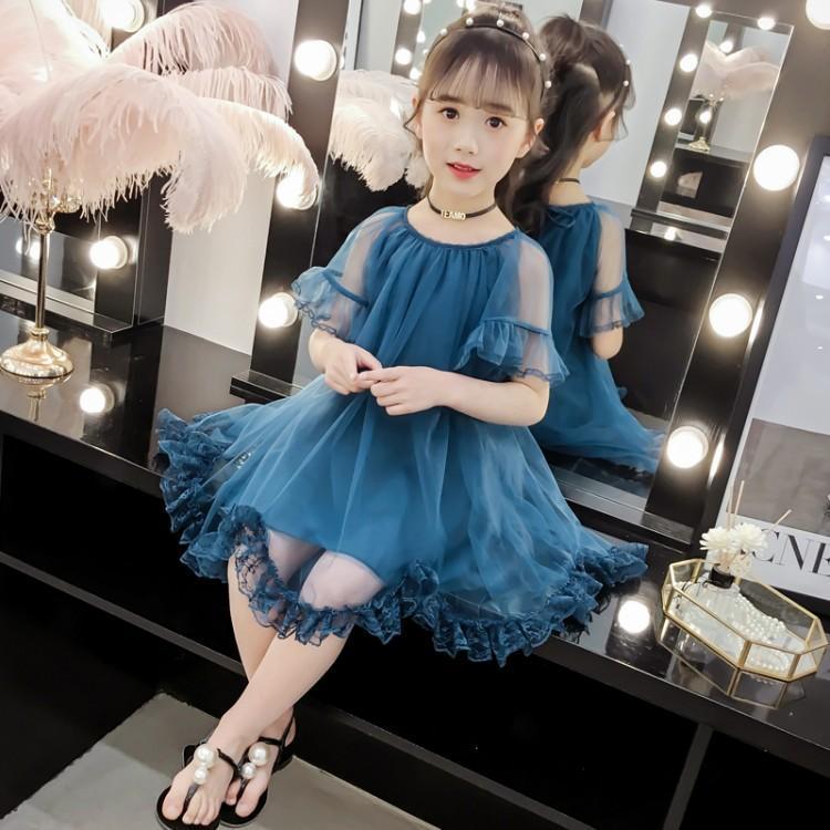 女童连衣裙蕾丝网纱长裙中大儿童超仙春夏新款洋气裙