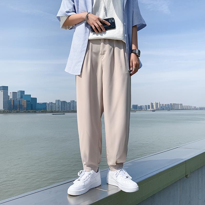 K91-P20男生休闲裤夏装韩版港风宽松冰丝裤小脚西裤潮学生九分裤