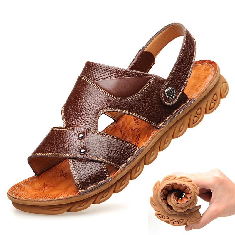 爸爸男中老年真皮软底防滑40沙滩鞋满199.00元可用140元优惠券
