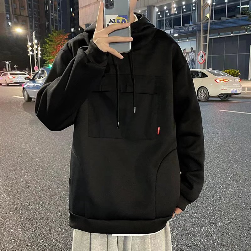 Autumn and winter boys heavy Plush Hoodie youth leisure high collar Hoodie loose top ins coat fashion