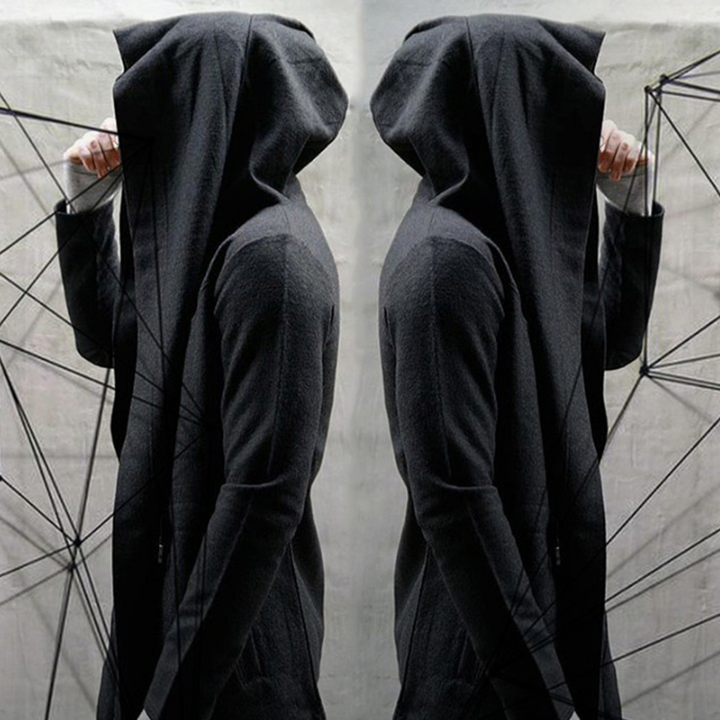 秋冬新款暗黑系男装风衣男士中长款连帽巫师斗篷披风加绒外套2018