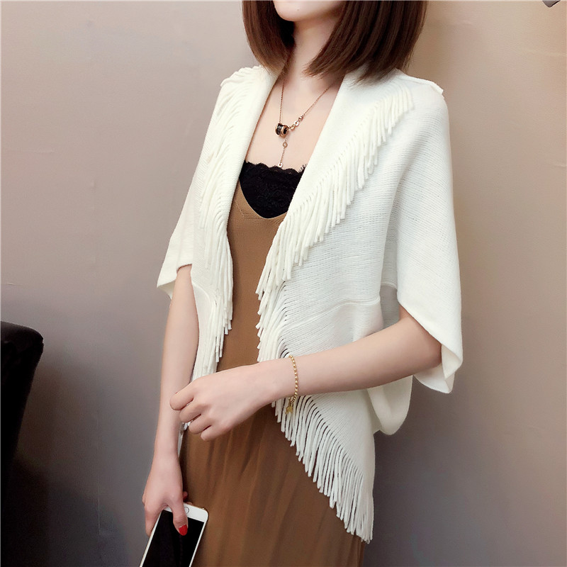 Ss18 T-shirt womens cardigan tassel sweater womens coat Cape Cape shawl loose and thin with air-conditioning shirt