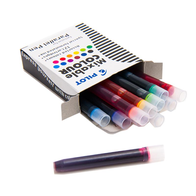 日本钢笔彩色墨胆78G贵妃钢笔一次性墨水胆12色笔囊平行