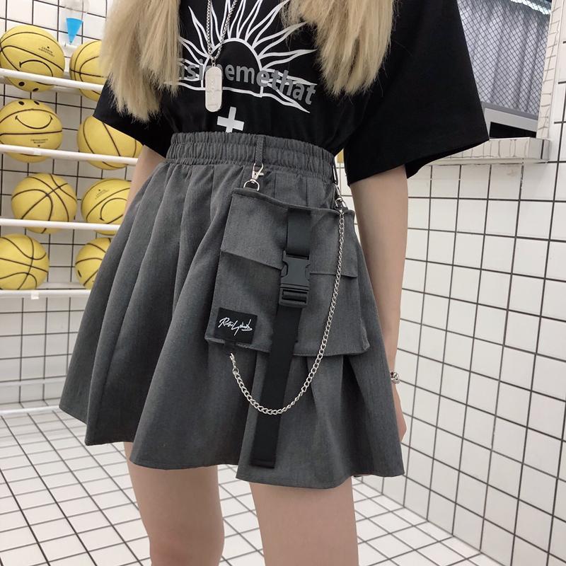 Ins super fire black high waist A-line pleated skirt short skirt womens 2021 spring and autumn new slim pocket skirt skirt