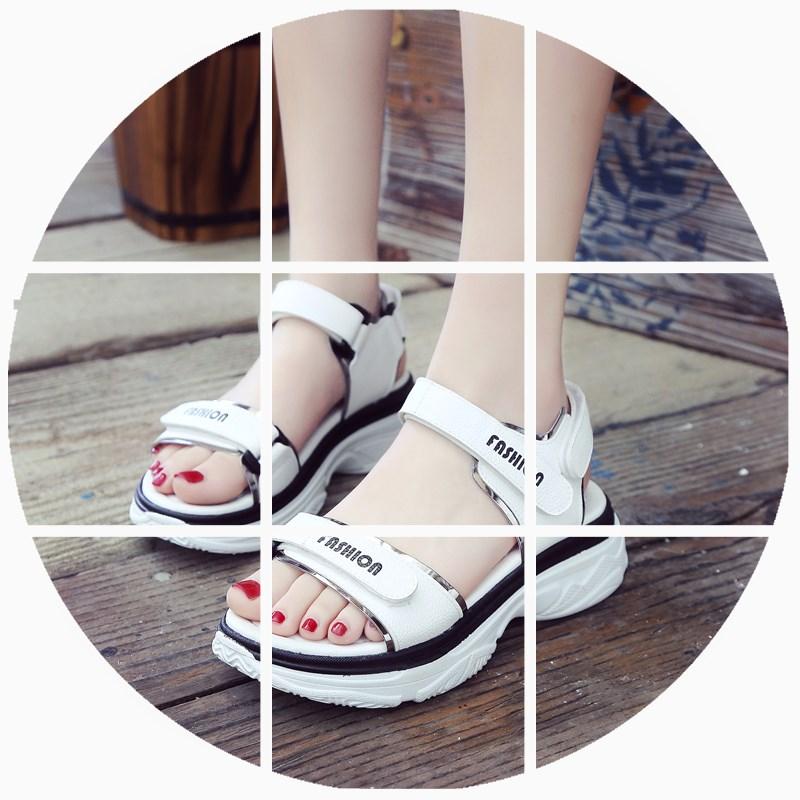 古缇奴凉鞋女夏平底厚底2018新款休闲运动凉鞋魔术贴女鞋露趾凉鞋
