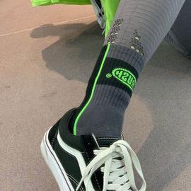 拼接颜色时尚百搭中筒运动袜女纯棉健身瑜伽短袜透气防滑袜子潮图片