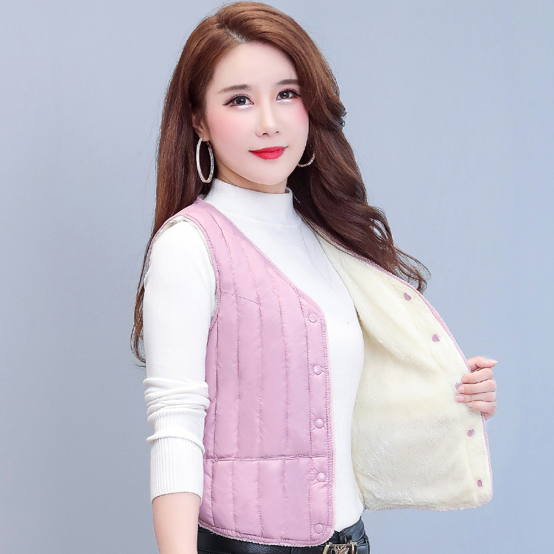 Autumn and winter new Korean fur one piece lamb down vest womens short plush tank top