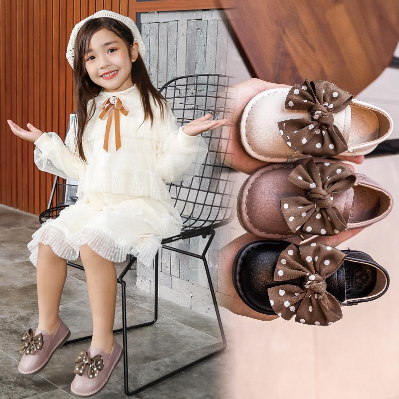 女童皮鞋小童公主鞋单鞋女宝宝秋鞋软底豆豆鞋黑色包头蝴蝶结童鞋