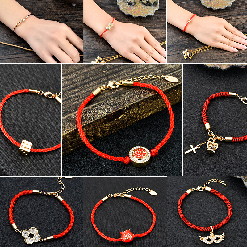 Japanese and Korean version of red rope lovers transport year of the rooster bracelet for women and men