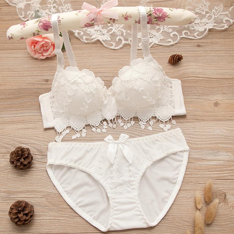 日系白色学生少女纯棉内衣内裤性感蕾丝聚拢文胸小胸套装薄款夏季