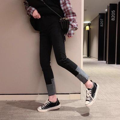 大码女装适合胯大腿粗200斤胖妹妹网红秋冬新款弹力九分牛仔裤子