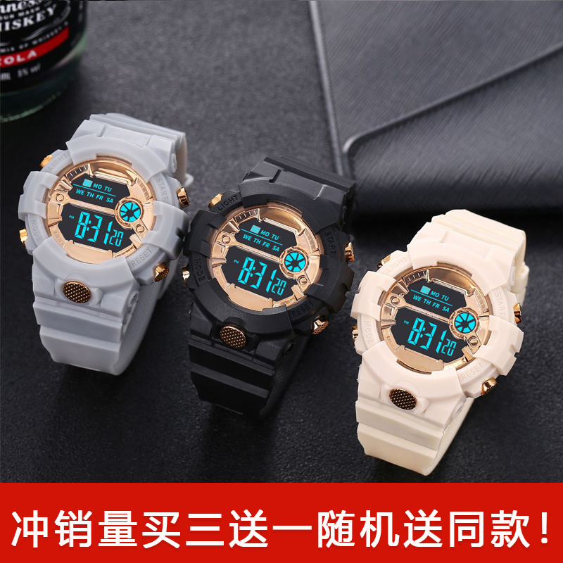 青少年の学生の男の子の女の子の屋外のスポーツ腕時計の新型の韓国版の多機能夜光の目覚まし時計の電子腕時計