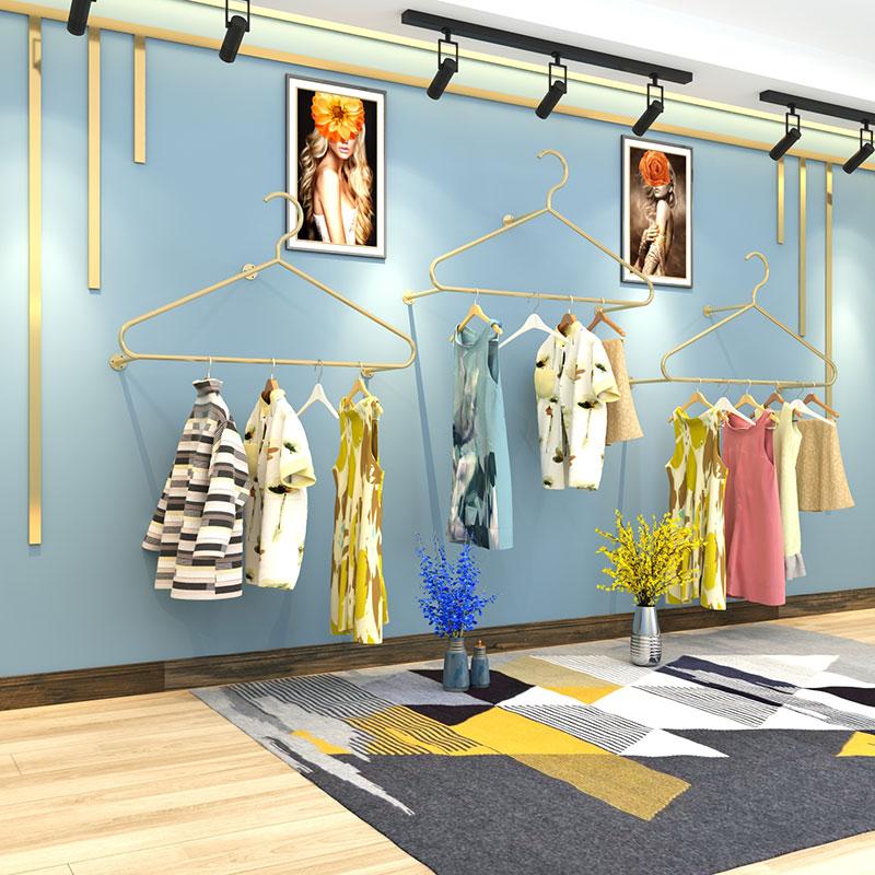女服装店上墙金色壁挂式童装挂衣架